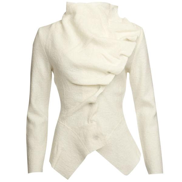 GROA Women's Boiled Wool Winter Jacket - Winter White
