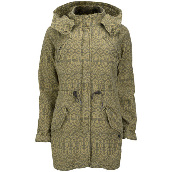 Maison Scotch Women's Slubby Print Parka - Green