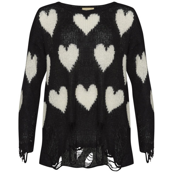 Wildfox Women's All Over Heart Jumper - Clean Black