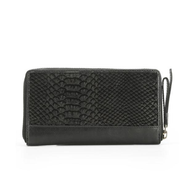 Markberg Women's Viola Zip Top Snake Leather Wallet - Black Snake