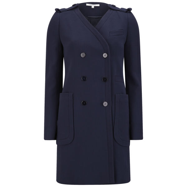 Carven Women's Double Breasted Slim Wool Coat -  Navy