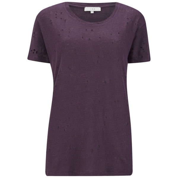 IRO Women's T-Shirt with Holes - Dark Purple