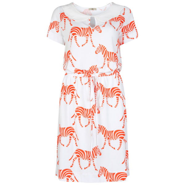 Orla Kiely Women's Scallop Collar Dress - White/Fluro Pink