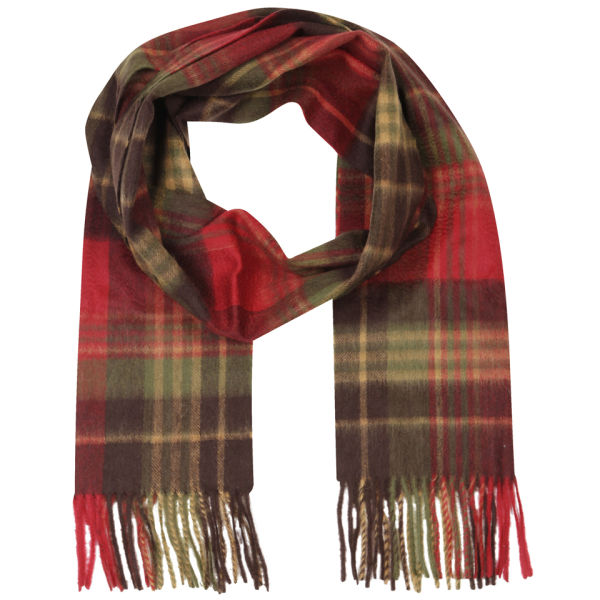 Barbour Unisex Country Check Scarf - Olive/Red