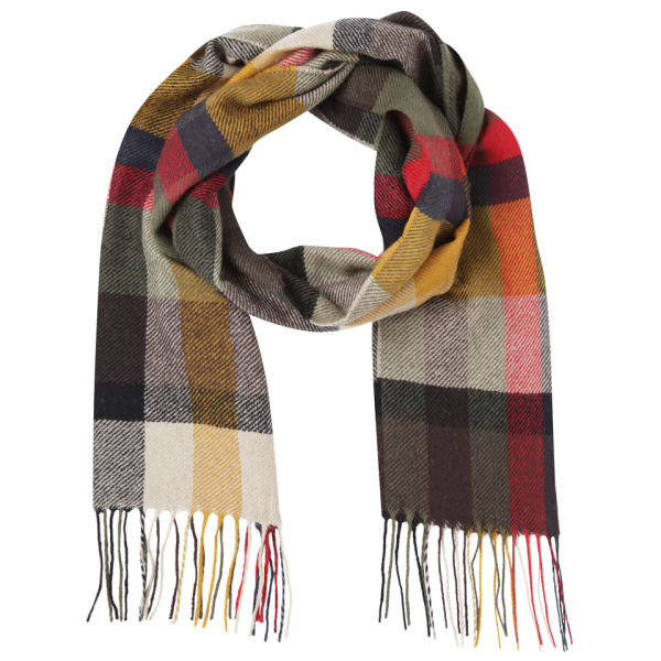 Barbour Unisex Ruthven Plaid Check Scarf - Olive
