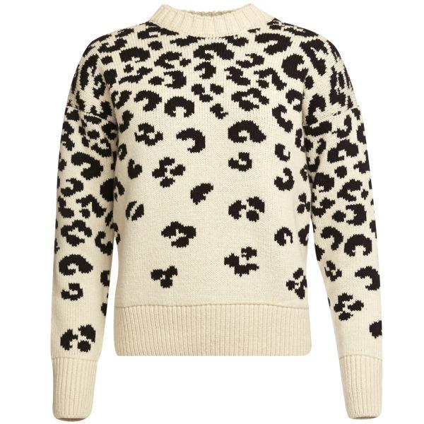 Joseph Women's Crew Neck Leopard Jacquard Sweater - Black/Ecru