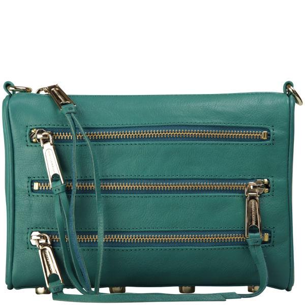 Rebecca Minkoff Mini 5 Zip Leather Clutch - Azure