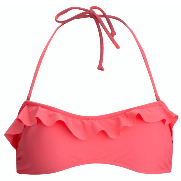 French Connection Women's Suzie Ruffle Bandeau Bikini Top - Party Pink