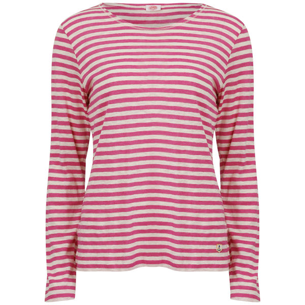 Armor Lux Women's Linen LS Striped Shirt - Nature/Raspberry