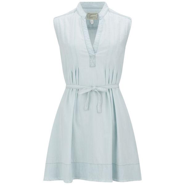 Current/Elliott Women's The Craftsmen Smock Frayed Denim Dress - Summer Storm