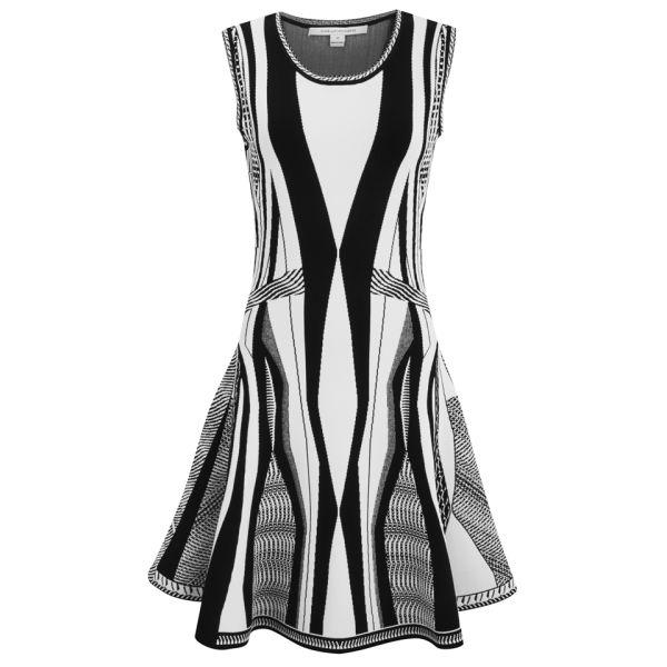 Diane von Furstenberg Women's Gabby Flared Stretch Dress - Black/White
