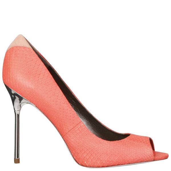Sam Edelman Women's Regan Peep Toe Heels - Neon Coral