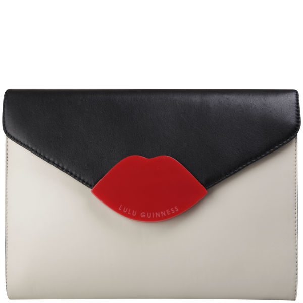 Lulu Guinness Tri Colour Medium Leila Perspex Leather Clutch - Black/Stone/Red