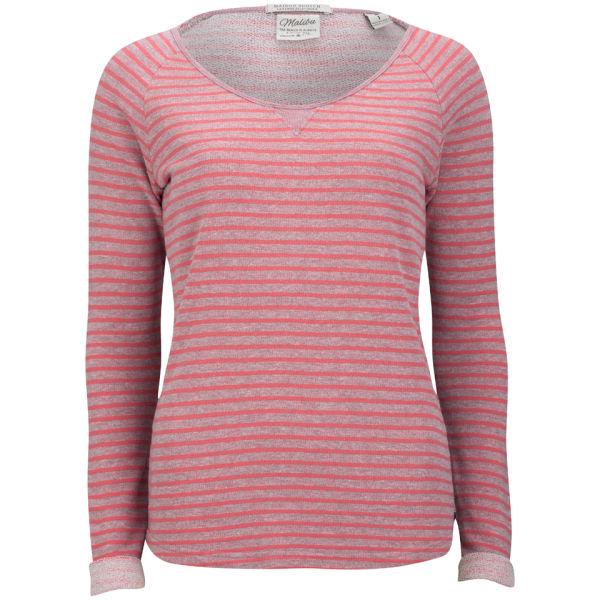 Maison Scotch Women's Crew Neck Stripe Sweater - Coral
