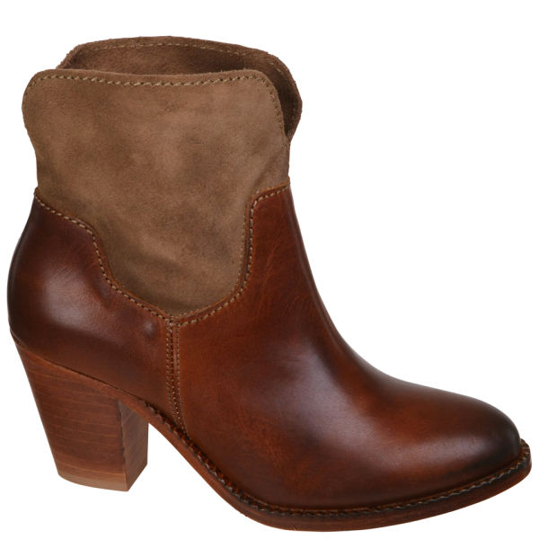 H Shoes by Hudson Women's Brock Suede Heeled Cowboy Boots - Tan