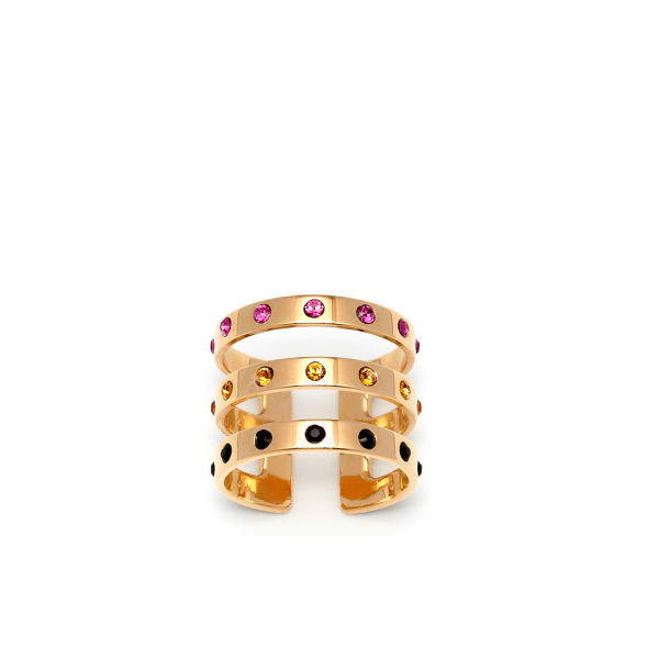 Maria Francesca Pepe Encrusted Swarovski Triple Band Ring - Gold