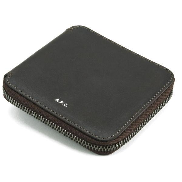 A p c men 39 s porte monnaie leather compact wallet for Porte monnaie wallet