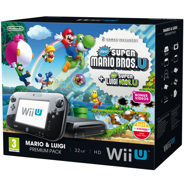 wii u console 32gb premium bundle black includes new super mario bros u and new super luigi. Black Bedroom Furniture Sets. Home Design Ideas