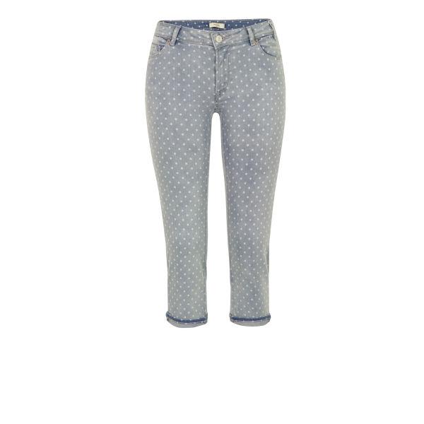 Paul by Paul Smith Women's F247 Blue Polka Dot Cropped Jeans - Blue