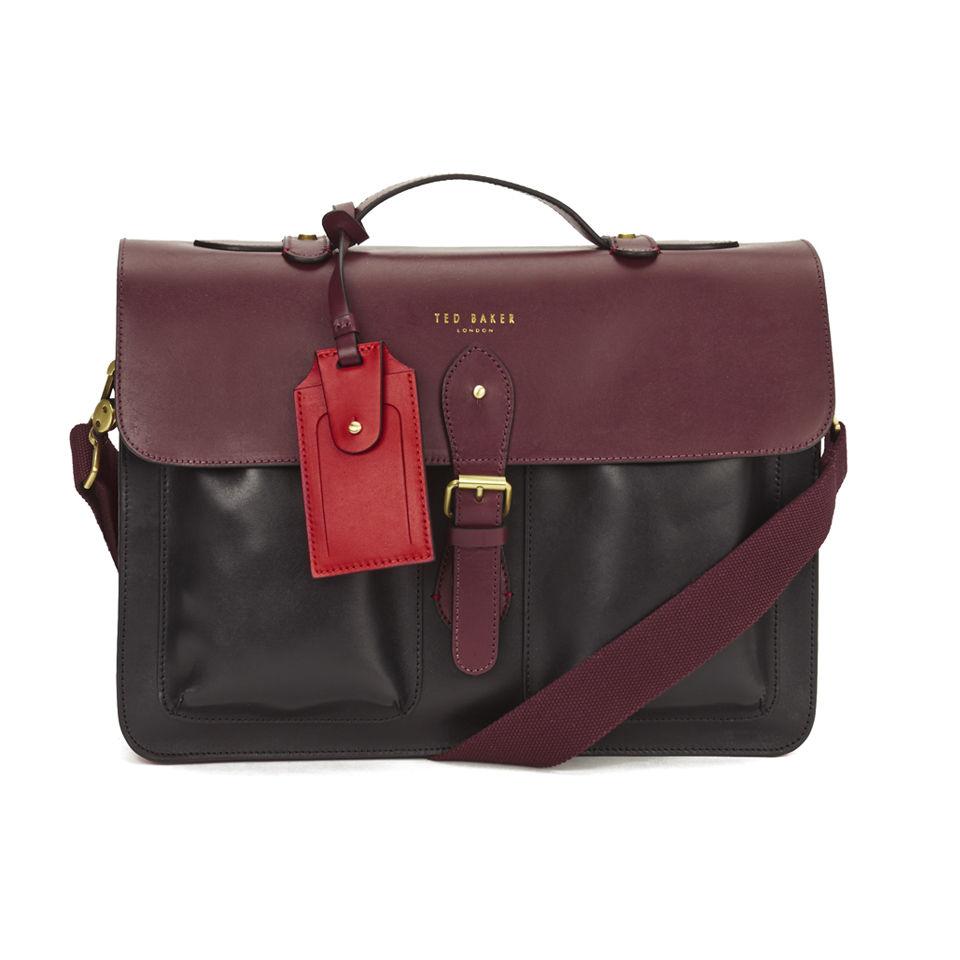 ted baker men 39 s colourblock leather satchel oxblood free uk delivery. Black Bedroom Furniture Sets. Home Design Ideas