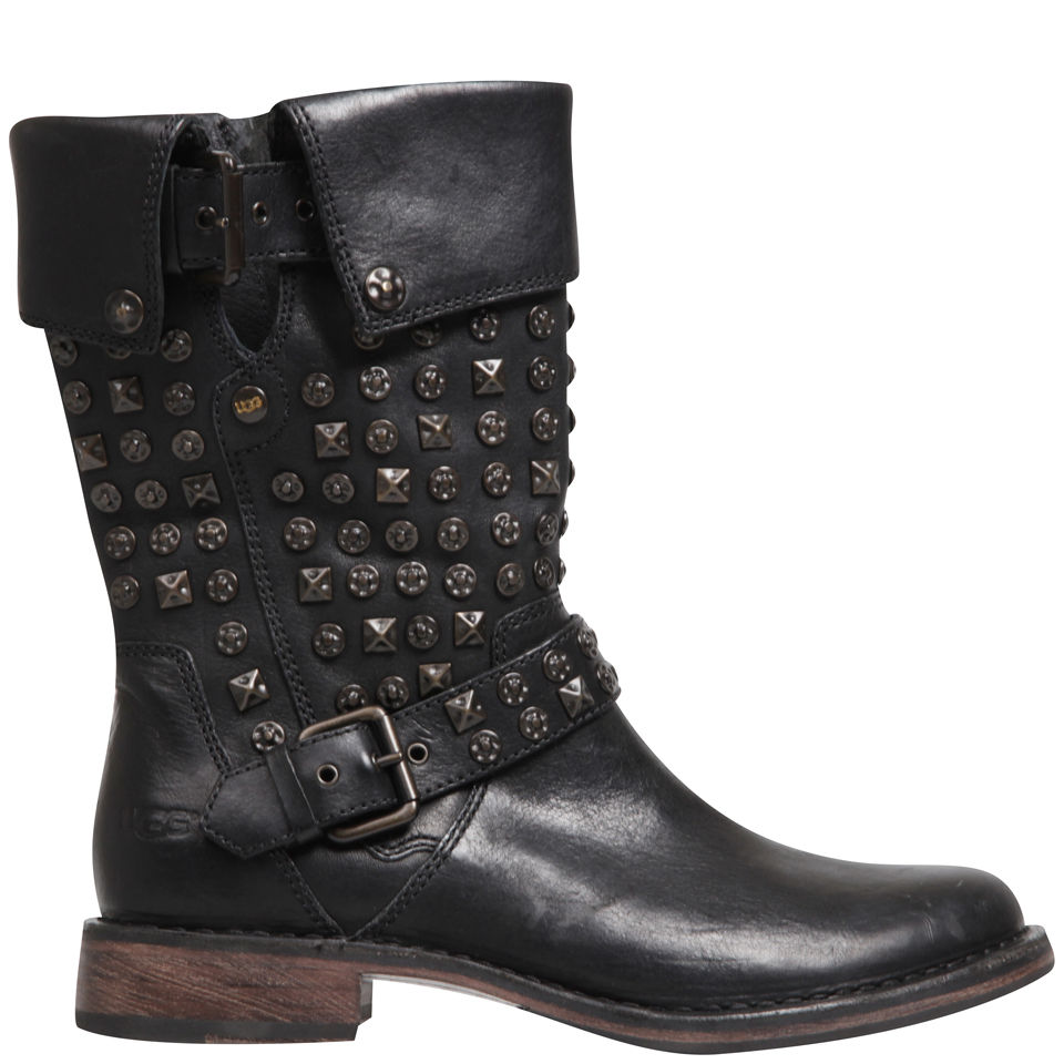 ugg s conor studded leather motorcycle boots black
