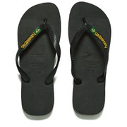 Havaianas Unisex Brasil Logo Flip Flops - Black