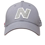 New Balance Unisex Yankey 6 Panel Fitted Baseball Cap - Cotton Spandex Light Grey/White