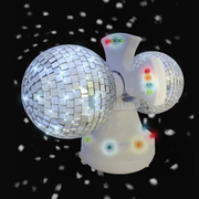 Twin Rotating LED Disco Ball - White