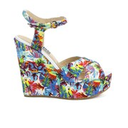 Love Moschino Women's Printed Wedged Sandals - White Multi