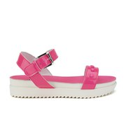 Love Moschino Women's Two Strap Patent Cleated Flatform Sandals - Pink