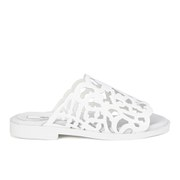 Miista Women's Lucille Laser Cut Patent Leather Sandals - White