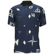 Soulland Men's Kingchasa Short Sleeve Silk Print Allover Shirt - Navy/White