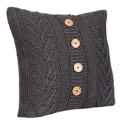 Malini Cable Knitted Cushion - Slate