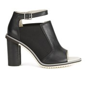 Jil Sander Navy Women's Leather Open Toe Heeled Sandals - Black