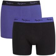 Pepe Jeans Men's Camden 2 Pack Boxers - Windsor Blue/Black