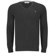 J.Lindeberg Men's Melvin Fine-Cotton V-Neck Knitted Jumper - Black