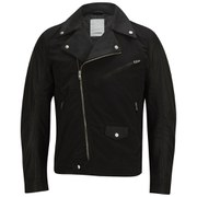 J.Lindeberg Men's Raimone Nappa Leather/Nylon Biker - Black