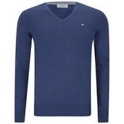 J.Lindeberg Men's Melvin Fine-Cotton V-Neck Knitted Jumper - Ink Blue