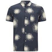 YMC Men's Loop Collar Short Sleeve Shirt - Navy/Cream Firework Print