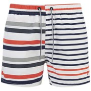 French Connection Men's Multi Lex Stripe Swim Shorts - Ayers Red
