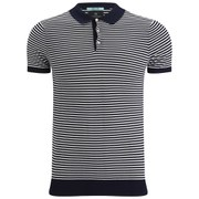 Scotch & Soda Men's Short Sleeve Knitted Polo Shirt - Night Stripe
