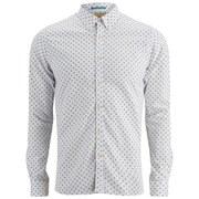 Scotch & Soda Men's Sprayed Elbow Long Sleeve Oxford Shirt - White
