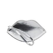 Lulu Guinness Women's Mirror Metallic Lip Coin Purse - Silver