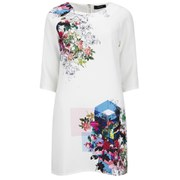 VILA Women's Digital Flower Shift Dress - Snow White