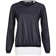 Maison Scotch Women's Lightweight Summer Sheer Knitted Top - Navy