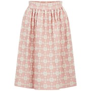 Orla Kiely Women's Daisy Gingham Jacquard Gathered Skirt - Blush