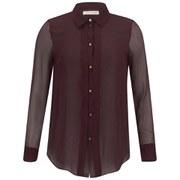 Matthew Williamson Women's Pleat Front Shirt - Damson Summer Georgette