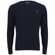 GANT Men's Cotton Cable Crew Neck Knitted Jumper - Blue