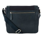 DKNY Men's Waxed Canvas and Leather Messenger with Embossed Logo - Dress Blue
