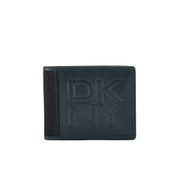 DKNY Men's Waxed Canvas and Leather Wallet with Embossed Logo - Dress Blue